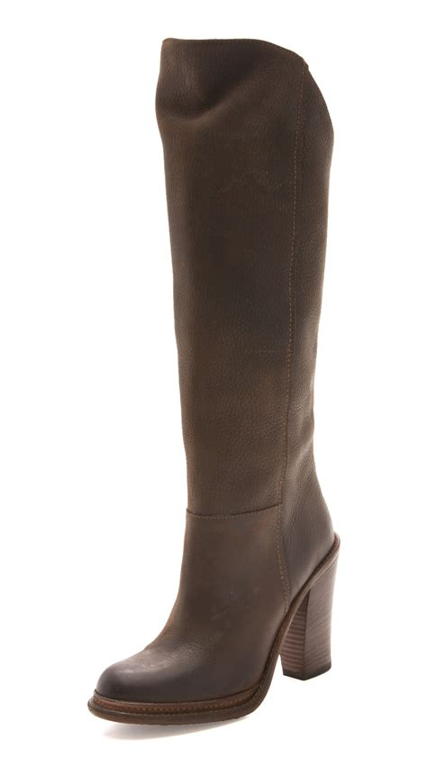 wang boots vera wang knee high boots in brown lyst