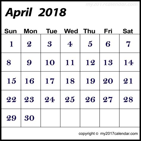 Calendar Template 2018 April April 2018 Calendar Template Printable Monthly