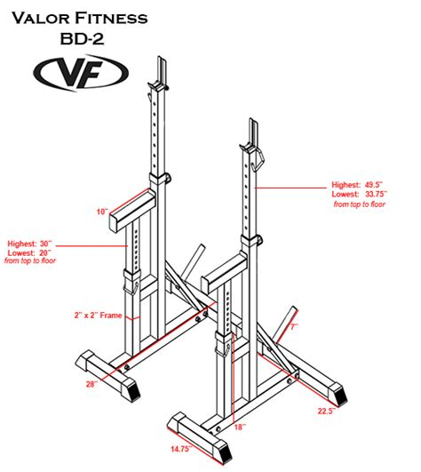 bench press dimensions valor bd 2 independent bench press stands