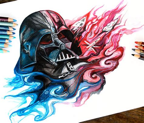 darth vader color drawing by katy lipscomb art no 1667