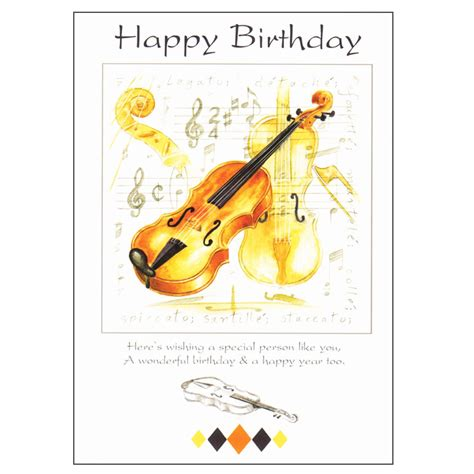 Musical Birthday Cards Happy Birthday Card Violin Design Sheet Music From Music