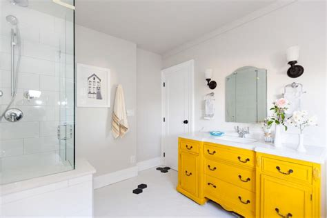 bright yellow bathroom 19 bathroom cabinet designs decorating ideas models