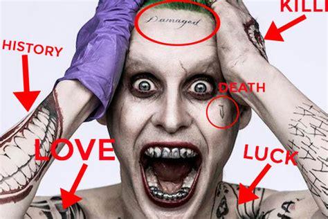 jared leto joker tattoo video suicide squad decoding all 16 of jared leto s joker tattoos