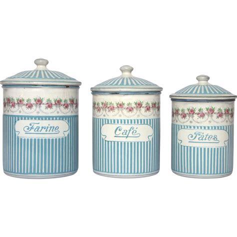 set of sky blue french enamel graniteware kitchen rose garland french enamel graniteware kitchen canister
