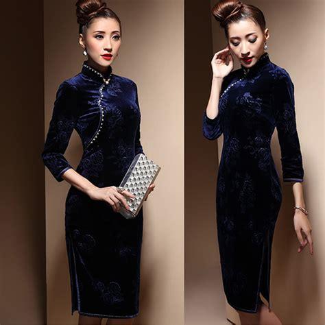 Qipao classy chinese winter cheongsam dress shop quality modern