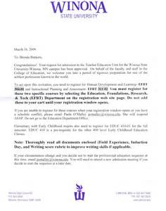 Program Acceptance Letter Acceptance Letter To Winona State Education Program Brenda Bankers S Professional