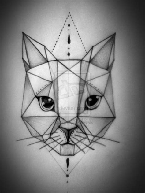 geometric cat tattoo geometric cat tatoo geometric cat