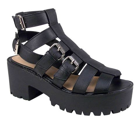 chunky heels sandals womens cut out gladiator chunky heel strappy