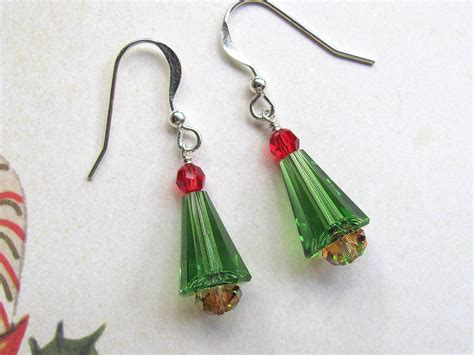 christmas tree earrings holiday earrings swarovski