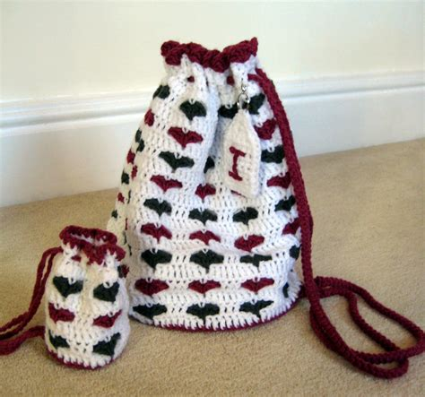 pattern crochet string bag little hearts drawstring bags make my day creative