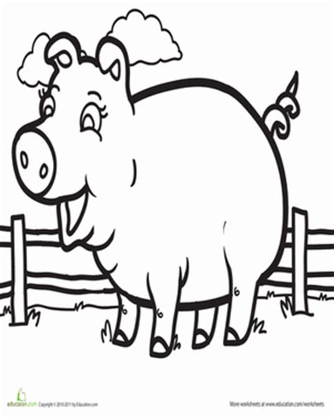 pig coloring page preschool pig worksheet education com