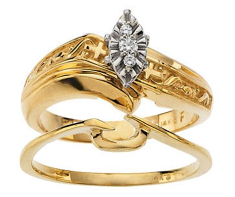 religious cross engagement wedding rings in yellow
