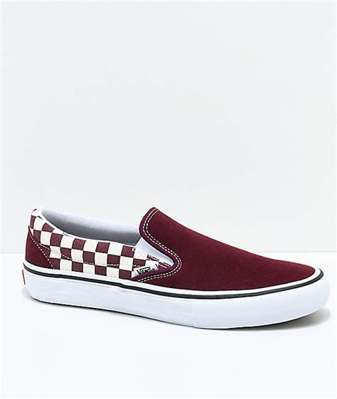 vans slip on pro port royal white checkered skate