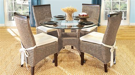 Abaco Rattan 5 Pc Round Dining Room Dining Room Sets Rattan Dining Room Furniture
