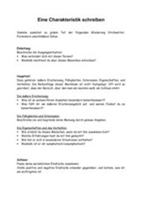Charakteristik Schreiben Muster 4teachers Lehrproben Unterrichtsentw 252 Rfe Und Unterrichtsmaterial F 252 R Lehrer Und Referendare