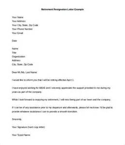Resignation Letter Due To Retirement by Retirement Letter Templates 31 Free Sle Exle Format Free Premium Templates