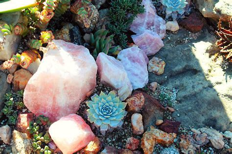 enchanted nature color crystal rose witch garden rocks