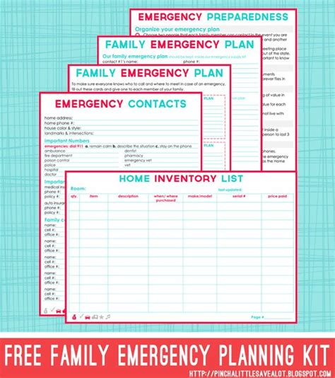 free family emergency planning kit printables