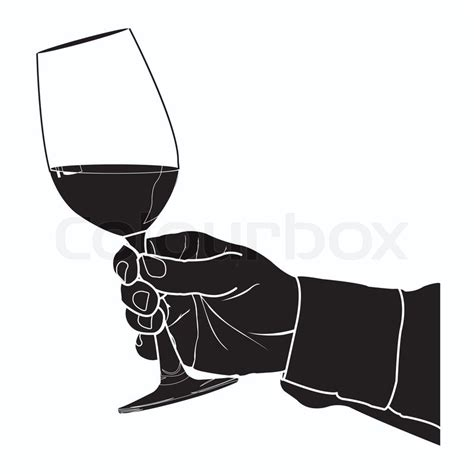 wine silhouette holding glass of wine silhouette vector stock