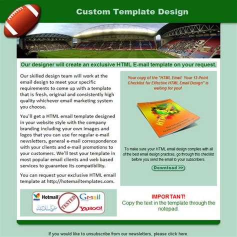 Football Free Html E Mail Templates Football Email Template