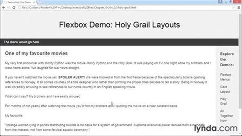 holy grail layout with flexbox styling the holy grail layout with flexbox