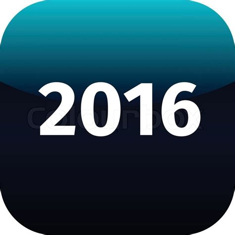 year 2016 blue and white icon for phone app web