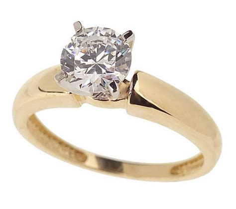 diamonique 1 ct solitaire ring 14k gold page 1