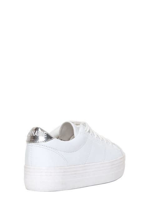 noname sneakers lyst no name 40mm plato leather platform sneakers in white