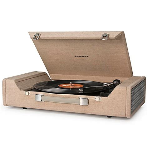 bed bath and beyond turntable crosley nomad usb portable turntable in brown bed bath