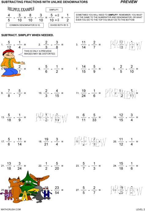 Subtracting Unlike Fractions Worksheets by Subtracting Fractions With Unlike Denominators Level 2