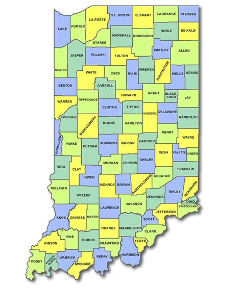 county map of indiana state of indiana county map indiana map