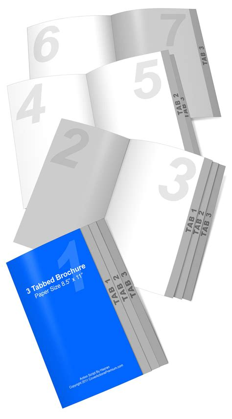 4 Page Graduated Fold Brochure Action Script Cover Actions Premium Tabbed Brochure Template
