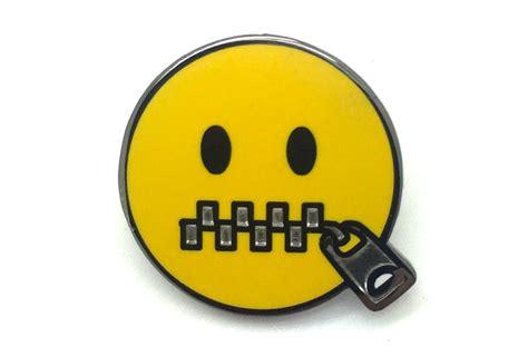emoji zipped mouth zipper mouth pin pintrill