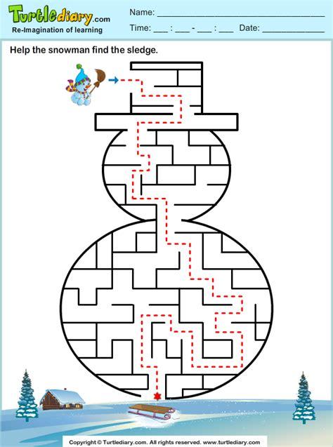 printable winter maze snowman maze worksheet turtle diary