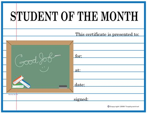 free printable student of the month certificate templates free student of the month certificates certificate free