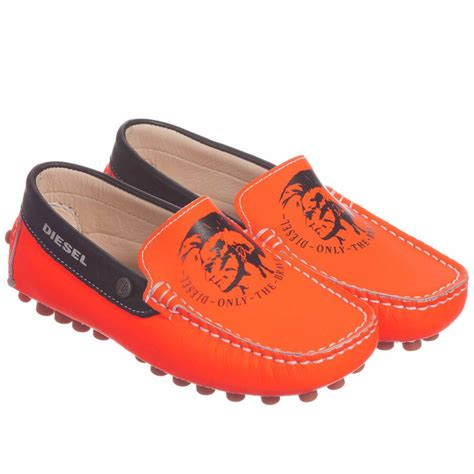 diesel kid shoes diesel boys leather neon orange shoes childrensalon