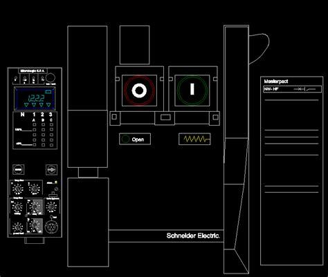 circuit breaker masterpact square  dwg detail