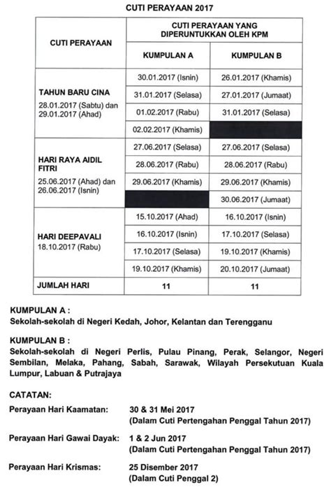 takwim cuti persekolahan tahun 1995 malaysia kalender cuti umum 2017 malaysia dan takwim cuti sekolah