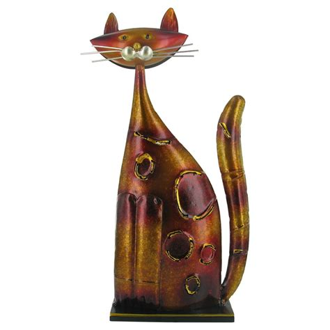 Cat Besi Avian Gold Metalic orange and gold metal cat sculpture prezents