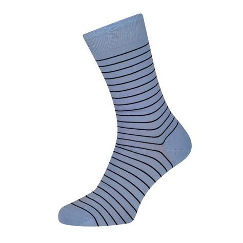 Simple Stripe Navy by Sunspel Simple Stripe Cotton Sock Sky Navy Simple Stripe