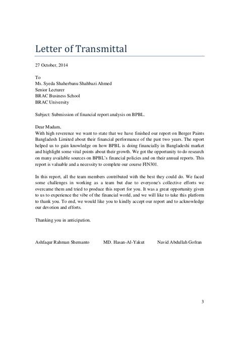 Finance Transmittal Letter Army Financial Report Analysis Of Berger Paints Bangladesh Limited Bpbl