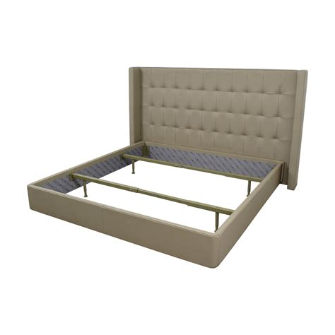 tufted leather bed 84 off roche bobois roche bobois king beige tufted