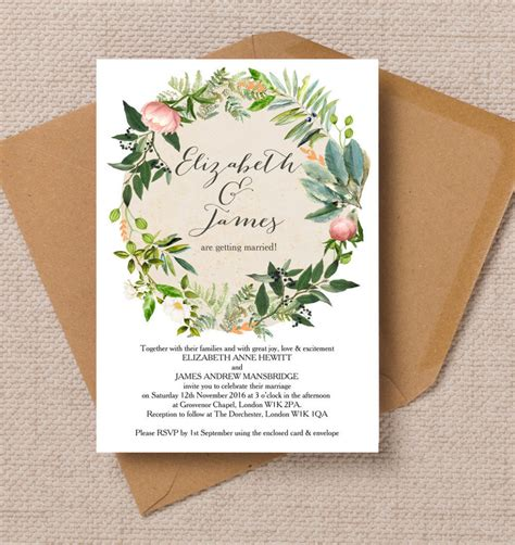 printable wedding stationery top 8 printable floral wedding invitations