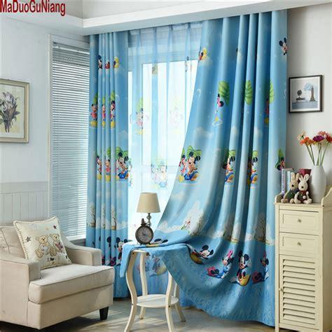 blue mickey mouse printed kids curtains  boy bedroom children room window sheer custom