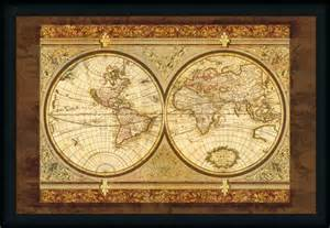 World Map Framed Art by World Map By Ctart Vintage Antiqued Framed Art Print Wall