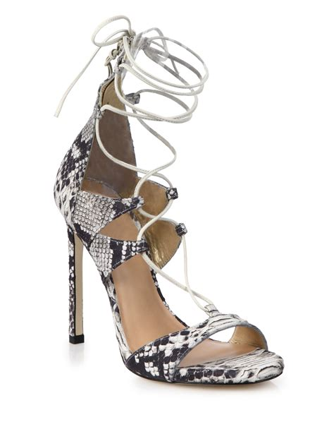 white lace up sandals lyst stuart weitzman legwrap snake embossed leather lace