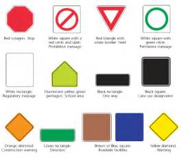 road sign colors traffic signs
