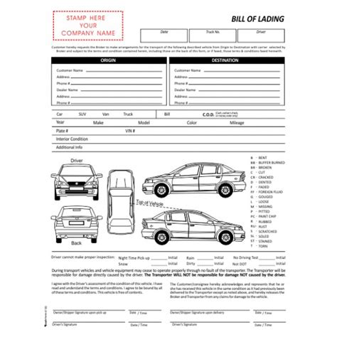 vehicle condition report template inspection forms standard forms