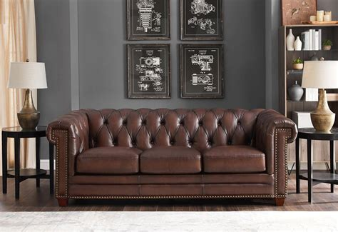 dark brown stanwood genuine leather sofa set pcs hydeline
