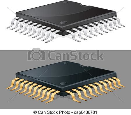 integrated circuit chip clipart vector clip of computer chip illustration of computer microchip isolated csp6436781